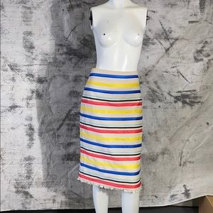 J Crew striped knee length summer skirt size 8